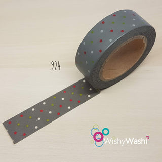 924 - Grey with Green, Red and White Spots Washi Tape