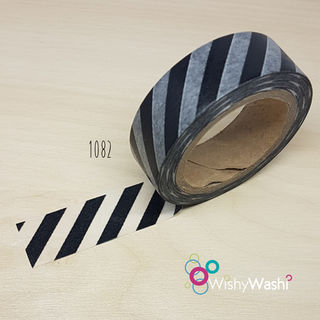 1082 - Black and White Stripe Washi Tape