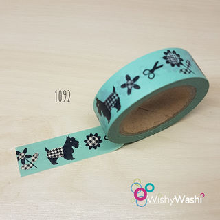 1092 - Mint Scotty Dog Washi Tape