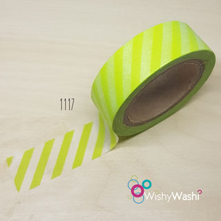 1117 - Lime Green Striped Washi Tape
