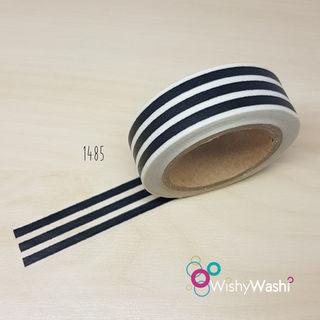 1485 - Black and White Stripe Washi Tape