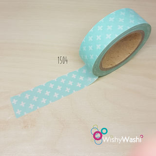 1504 Green & White Cross Washi Tape