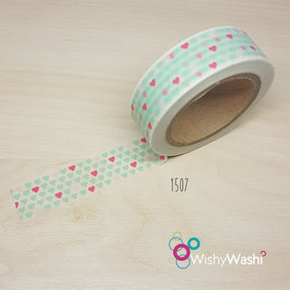 1507 - Mint and Pink Heart Washi Tape
