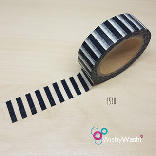 1530 - Black and White Stripes Washi Tape