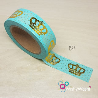 1547 - Pastel Mint and Gold Crown Washi Tape