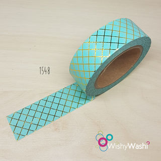 1548 - Pastel Mint and Gold Lattice Washi Tape