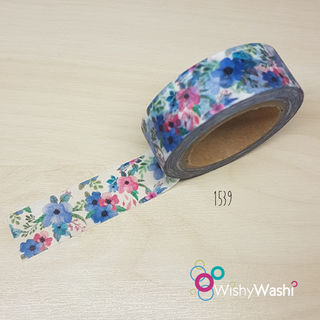 1539 - Beautiful Blue Floral Washi Tape