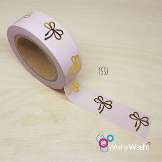 1552 - Pastel Pink with Gold Foil Bows Washi Tape