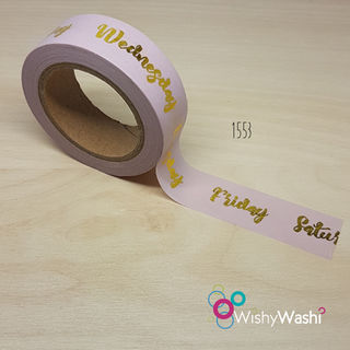 1553 - Pastel Pink and Gold Foil Days of the Week Washi Tape