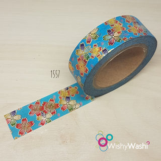 1557 - Blue with Red and Gold Foil Floral Washi Tape