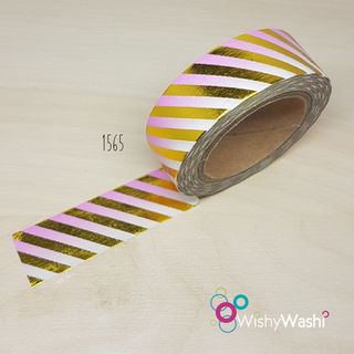 1565 - Pink Ombre with Gold Foil Stripe Washi Tape