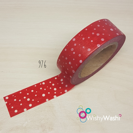 2041 - Red with White Speckles of Dots and Stars Washi Tape