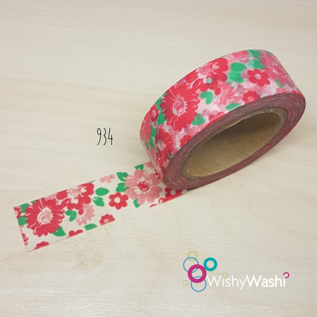 2288 - Red Floral Washi Tape