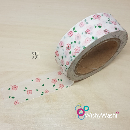 954 - White with Pink Flower Washi Tape