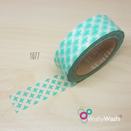 1077 - Mint Cross Washi Tape