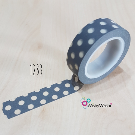1233 - Grey with White Spot Washi Tape