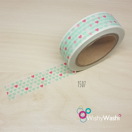 2062 - Mint and Pink Heart Washi Tape