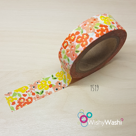 1519 Orange and Yellow Floral Washi Tape