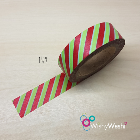 1529 - Red & Green Stripe Washi Tape
