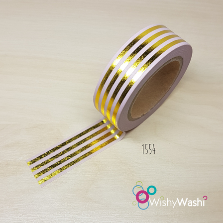 2137 - Pastel Pink and Gold Foil Stripe Washi Tape