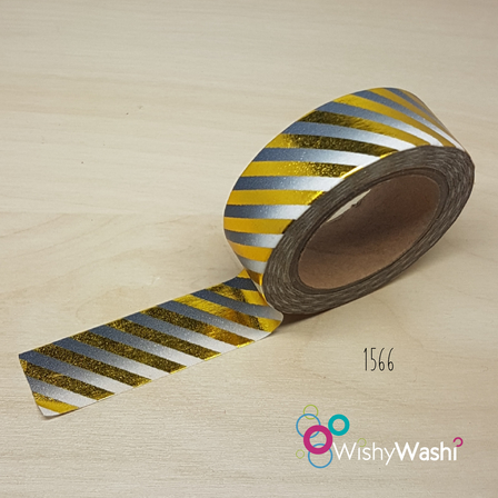 1566 - Grey Ombre with Gold Foil Stripe Washi Tape